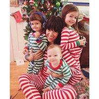 ingrosso pigiama unisex-Set di pigiami natalizi a maniche lunghe a righe per bambini Maglietta a righe + pantaloni a righe 2 colori Abbigliamento da notte per bambini in cotone Abbigliamento per la casa Abbigliamento per Natale