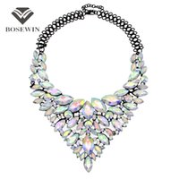 Wholesale wedding crystal gems - Colorful Gems Big Maxi Necklaces For Women fashion New Luxury Bridal Statement Jewelry Collar Choker Necklaces & Pendants CE3954