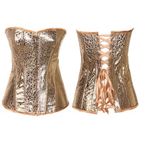 Wholesale Leather Basque Corset - In Stock Hot Sexy Gold Artificial Faux PU Leather Corset Basques Lingerie 845