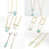 Wholesale Wholesale Round Stone Necklace - Fashion White Blue Turquoise Pendant Necklace,Gold Plated Layer Necklace With Square Rectangular Round Geometry Stone Women Jewelry 89705