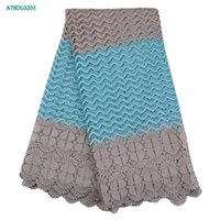 Wholesale Guipure Lace Dresses - High Quality African Sky Blue Guipure Lace Fabric For Party Dress African Cord Lace Flower Embroidered Mesh Lace Fabric 5 Yards A78DL02