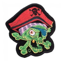 Wholesale zombie patches - Green One Eyed Pirate Skull Zombie Patch, Pirate Skull Embroidered Iron On Patches 3.75*4 INCH Free Shipping
