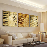 Wholesale Music Notes Painting - Free shipping 3 Pieces unframed Home decoration picture Canvas Prints piano keys music note Cartoon flower Bamboo Sunflower mountain lake