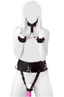 ingrosso polsini del polsino del collo-Imbracatura femminile del cuoio del collare del cuoio dell'unità di elaborazione stabilita del colletto del sesso di Kinky Imbottita la biancheria intima multi di orgasmo con il collo del collo ai polsini di ritenuta del polso
