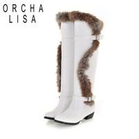 Wholesale women boots rabbit fur - Wholesale- Hot Sale Plus Size34-43 Rabbit Fur Long Flats Shoes Buckle Winter Warm High Quality Warm Snow Boots