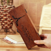 Wholesale Wood Lacquered Box - Free Shipping retro old wooden pencil box wood jewelry box wooden tower multifunctional stationery box Eiffel Tower