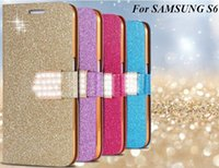 Wholesale Galaxy S4 Crystal Flip - Rhinestone Leather Case For Samsung Galaxy S4 5 6 Edge Note 2 3 4 5 Iphone 4S 5S 6S Plus Luxury Wallet Shining Crystal Bling Flip PU Cover