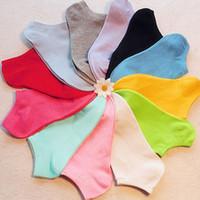 Wholesale Crew Cuts Girls - Wholesale-Hot New Women's Socks Cotton Short Ankle Boat Low Cut Sport Socks Crew Casual calcetines Girls Cute Socks 15 Candy Colors Z1