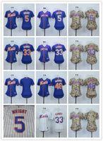 Wholesale Cheap Female Jerseys - Women New York Mets 5 David Wright 33 Harvey 48 Jacob deGrom Blank White Blue Camo Female Baseball Jerseys Lady Shirt Cheap Cool Top Quality