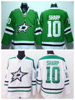 patrick sharp jerseys verdes al por mayor-Patrick Sharp 10Dallas Stars Ie Hockey Jerseys baratos Patrick Sharp Jersey Hombres para los fanáticos del deporte Pure Cotton Team Color Green White