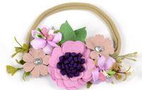 Wholesale Felt Hair Bands - Mini Cluster Lavender Felt Flower Nylon Headband Handmade Flower Hair Band For Babys Hot Sale Queenbaby