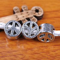 Wholesale Tibetan Round Silver Pendant - Hualu 7301 100pieces 10*10mm 3D Peace Spacer Beads 7*5mm Hole Retro Silvery Pendant Tibetan Silver Jewelry Making Fingding necklace Bracelet