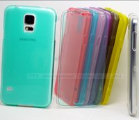 Wholesale Wholesale Galaxy Galaxys5 - WHH: Flip Open Transparent Soft TPU Silicon Cases For Samsung Galaxy S5 i9600 Case For Phone GalaxyS5 SV S 5 Cover Shell GHSS UH