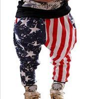 Wholesale patriotic clothing - Wholesale Baby Boy American USA Flag Graphic Fashion Narrow Leg Haren Pants 100% Cotton Features Patriotic Design Clothing