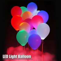 Wholesale Helium Light Balloons - 5pcs pack 12inch Latex Helium Balloons LED Balloon Light Ball Christmas Halloween Decoration Wedding Birthday Party Supplies Baloons