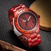Wholesale Japan Watches For Women - Eco-Friendly Red Sandal Wood Health Watches Uwood Brand Wooden Watch Japan Quartz Wristwatch For Mens Women Lover Best Gift