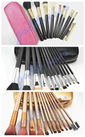 Wholesale Black Hair Pieces - HOT Makeup Brushes 12 pieces Professional Makeup Brush set Kit Pink Black  nude gold+FREE GIFT
