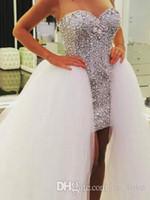 Wholesale High Low Diamond Wedding Dress - Removable Skirt High Low Wedding Dresses 2017 Diamonds Crystals Short Front Long Back Detachable Train Bridal Gowns Custom Size