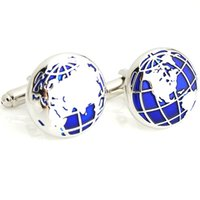 Wholesale Designer Cuff Links - High Quality Fashion Cufflinks For Men Blue Global Earth World Map Designer Cuff Links Wholesale Mens French Cuff Botton
