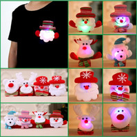 Wholesale Led Badge Light - High Quality LED Christmas Brooches Snow man Santa Claus Elk Bear Pins Badge Light Up Brooch Christmas Gift Party decoration Kids Toy