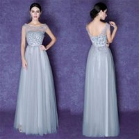 Wholesale Design Discounted Prom Dresses - New Spring Design Popular Scoop Gray Beauty Elegant Special Occasion Dresses Bridesmaid Evening Party 2017 Discount Prom Dresses