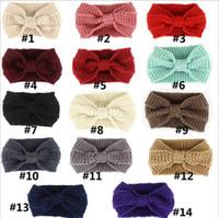 Wholesale Crochet Head Band Women - Women Lady Crochet Bow Knot Turban Knitted Head Wrap Hairband Winter Ear Warmer Headband Hair Band Accessories YYA645