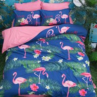 Cartoon Pink Blue Flamingo Bird Printing Literie Ensembles Twin Full Queen King Size Tissu Coton Couettes Couettes Oreiller Shams Consommateur Animal