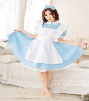 Wholesale Cosplay Wonderland Costume - Halloween Maid Costumes Womens Adult Alice in Wonderland Costume Suit Maids Lolita Fancy Dress Cosplay role-playing for Women