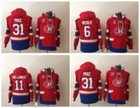 hoodies de hockey carey achat en gros de-Canadiens de Montréal 6 Shea Weber 11 Brendan Gallagher Maillot de hockey à capuche Carey Price 31 Sweat-shirt à capuche 100% cousu