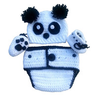 Wholesale Cute Babies Panda Costume - Cute Newborn Panda Bear Costume,Handmade Crochet Baby Boy Girl Bear Hat,Booties and Diaper Cover Set,Halloween Costume,Infant Photo Prop