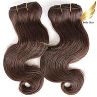 kahverengi dalgalı saç uzatmaları toptan satış-Sınıf 8A Brezilyalı Vücut Dalga Renkli İnsan Saç Atkı Kahverengi # 4 Dalgalı İnsan Saç Ücretsiz Nakliye Örgüleri Bella Saç Uzantıları