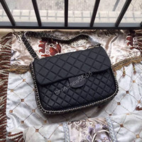 Wholesale Leather Deerskin Bag - original quality 2016 brand new 33cm deerskin chain around bag large women's single flap bag black 5 colors ,EMS Free Shipping