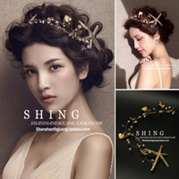 Wholesale Starfish Hair Jewelry - Hot!Women Wedding Vintage Pearl Hair Jewelry Accessories Big Gold Starfish Alloy Leaf Hair band Women Party Baroque Flower Crown Xmas Gifts