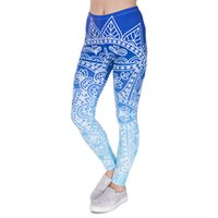 Wholesale Legging High Waist Blue - High Quality Women Legins Mandala Ombre Blue Printing Legging Fashion Casual High Waist Woman Leggings