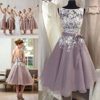 Wholesale Dresse For Women - Dusty Purple Bridesmaid Dress with White Lace Tea Length V Back Short Women Formal Maid of Honor Dresse for Weddings Cheap