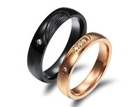 Wholesale Puzzle Piece Ring - Couple Healf Heart Puzzle Rings Romantic Black Rose Gold Plated Stainless Steel + CZ Diamond Women Men Wedding Jewelry Lovers Rings 2 Piece