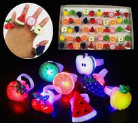 Wholesale Led Finger Light Party Favors - 50pcs Birthday Party LED Glowing finger rings favors,Cartoon Flashing Ring Light for Kids toys Events Party Favors free shipping