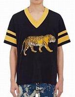 Wholesale Cheap V Neck Tshirts - Cheap 2017 new fashion summer t shirts Tiger Eye Printing men t-shirt Casual tshirts Short sleeve brands Color cartoon
