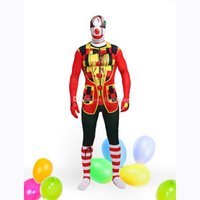 Wholesale custom made clothes lycra online - Halloween And Christmas Clown Unisex Lycra Spandex Multicolor Zentai Suits Carnival clothing