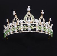 Wholesale Faux Baroque Pearls Wholesale - The Actual Shooting Ladies Tiara Crown Hair Accessories Q49 New Baroque Rhinestone Sparkling Evening Prom Party Dresses Accessories Supplier