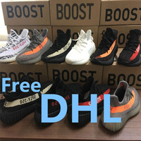 Wholesale Dhl Free Shipping Lace - With box DHL free shipping Kanye West Sply Boost 350 V2 zebra Black White Green Glow kamatiti Men Women ultra nmd smith Running Shoes