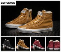 Wholesale Light Up Skateboards - 2017 Converse Winter With Velvet Warm Zip High Top Fur Boots Chuck Tay Lor All Star Canvas Running Shoes Designer Skateboard Sneakers 35-44