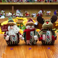Wholesale Wholesale Santa Snowman Dolls - Santa Claus Snowman Deer Decoration Toys New Home Indoor Party Christmas XMAS Dolls Supplies Children Gifts 18*13cm HH-T26
