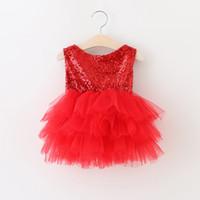 Wholesale Wholesale Red Dress Pageants Girls - Christmas party dress Sweet Girls red sequins tulle tutu dresses kids back V-neck bows vest princess dress Children Pageant Dress A0143
