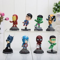 8pcs / set The Avengers Superheroes Captain American Hulk X-men Spiderman Mini PVC Action Figure Jouets jouets pour enfants