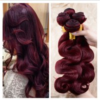 Virgin Brazilian Wine Red Hair Bundles # 99J Bourgogne 3Bundles Virgin Brésilien Body Wave ondulé Virgin Remy Cheveux humains tissés 3Pcs Lot