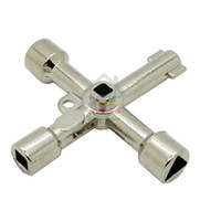 Wholesale Valve Order - Hot 2pcs Universal Multi-Function Cross Triangle Cross Key Train Electrical Cabinet Elevator Key Alloy Triangle Valve Spanner order<$18no tr