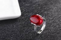 Wholesale Corundum Crystals - Retail high-grade pure white brass ring ring restoring ancient ways natural red corundum lapis ruby mouth opening ring sent free of charge