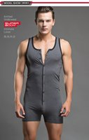 Wholesale Men Shirts Ties - Wholesale-New SUPERBODY Hot Guys Sexy Bodysuits Men's Underwear Tank Tops Button Tie-up Teddy Solid Cotton T-shirt # SP13