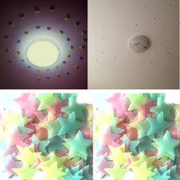 Wholesale Glow Dark Adhesive - Lovely 100Pcs lot Luminous Stars Wall Stickers Home Glow In The Dark Stars For Kids Fluorescent Stickers Decoration 3cm